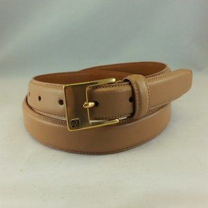 LRL Beige Italian Leather Belt Gold-Tone Buckle